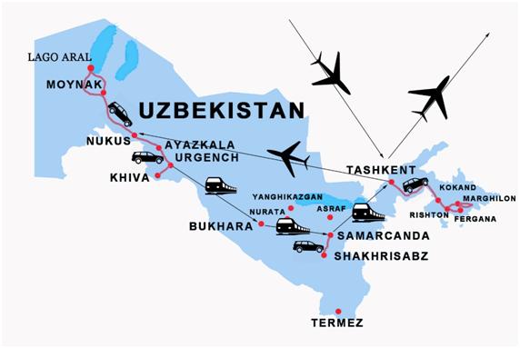 Mappa viaggio Uzbekistan
